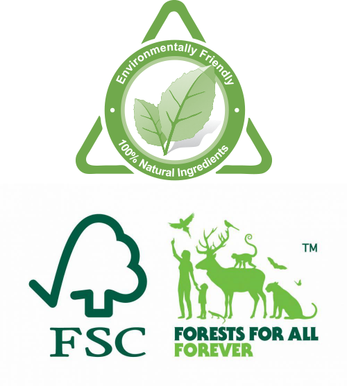 Environmentall Friendly, 100% Natural ingredients. FSC. Forests For All Forever.