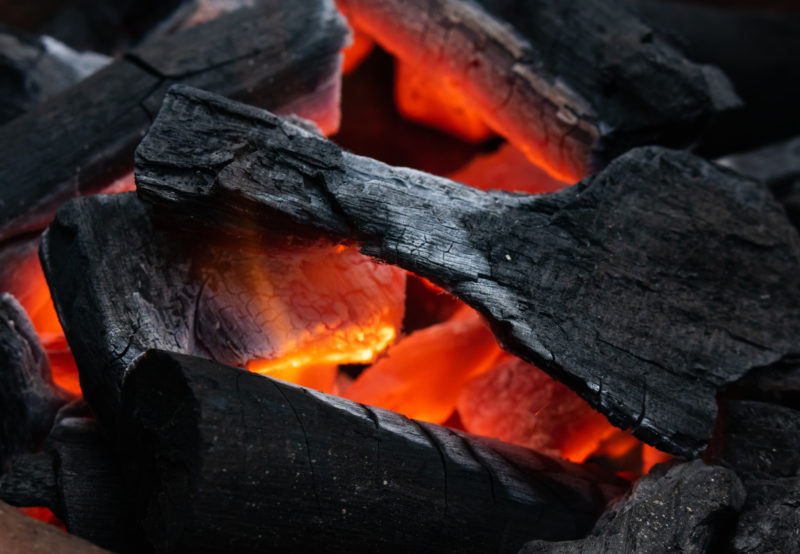 Flaming hot charcoal